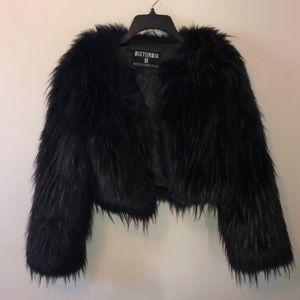 Disturbia faux fur crop jacket